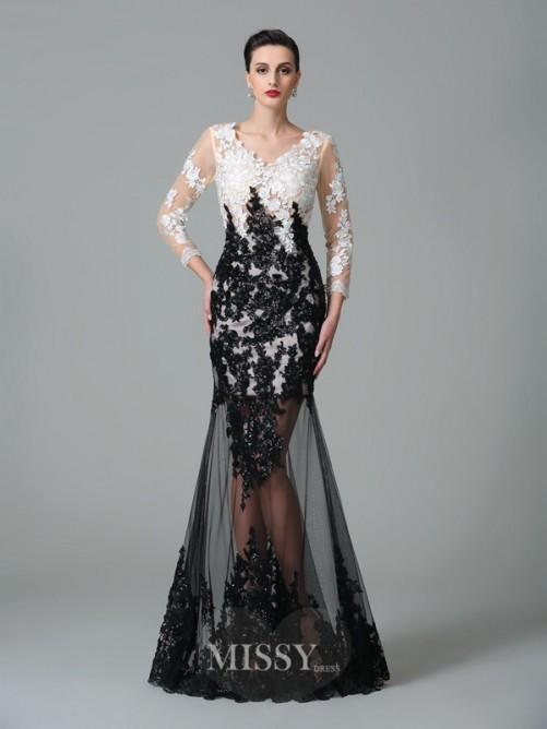 Свадьба - Etui-Linie V-Ausschnitt 3/4 Ärmel Spitze Bodenlang Netz Kleid - MissyGowns