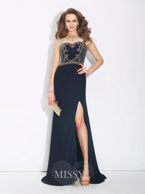 Boda - A-Linie/Princess-Linie Ärmellos Juwel-Ausschnitt Perlen verziert Sweep/Pinsel zug Chiffon Kleid - MissyGowns