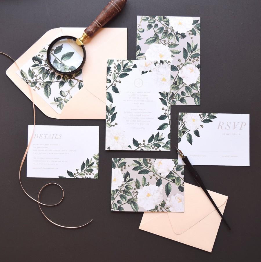 Свадьба - Ainlsey Wedding Invitation & Correspondence Set / Botanical florals and greenery / Sample Set