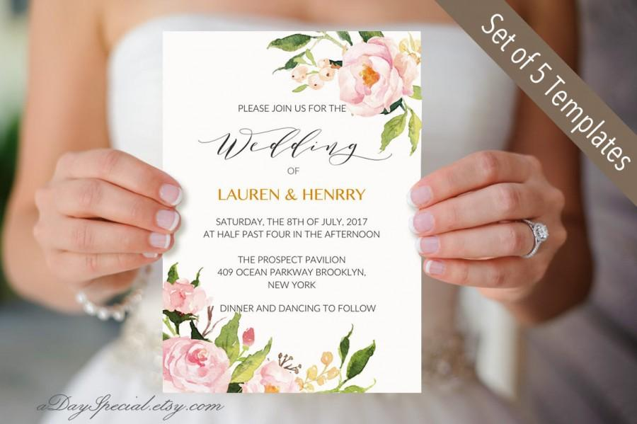 Peony Wedding Invitation Templates Printable Wedding Invitation - Wedding invitation templates: wedding invitation suite templates