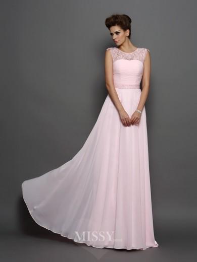 Hochzeit - Princess-Linie Ärmellos U-Ausschnitt Chiffon Perlen verziert Sweep/Pinsel zug Kleid - MissyGowns