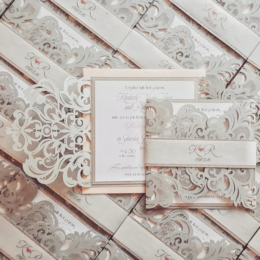 Hochzeit - Silver laser cut wedding invitation bespoke - Chic laser cut custom elegant wedding invites {Broadway design, silver laser cut version}