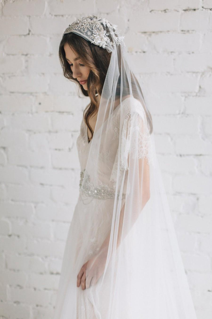 Mariage - Juliet Veil, Wedding Veil , Wedding Veil with Crystals and Pearls , Lace Wedding Veil, Chapel Veil , Cap Veil, Bohemian Veil - Amelia