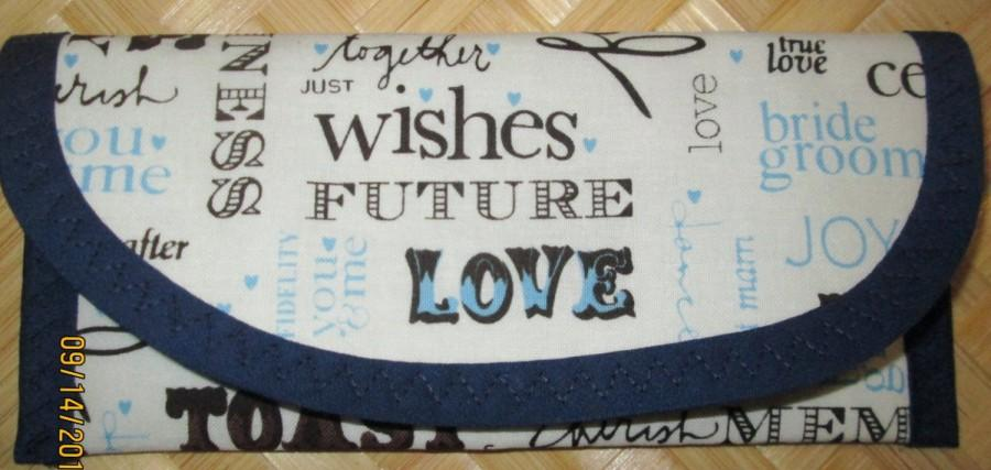 Mariage - Wallets money clip Bags & Purses 7 x 3 Wedding Fabric 'Wishes Future I Do Love Celebration Joy Cherish' Bridal party Gift Blue lined