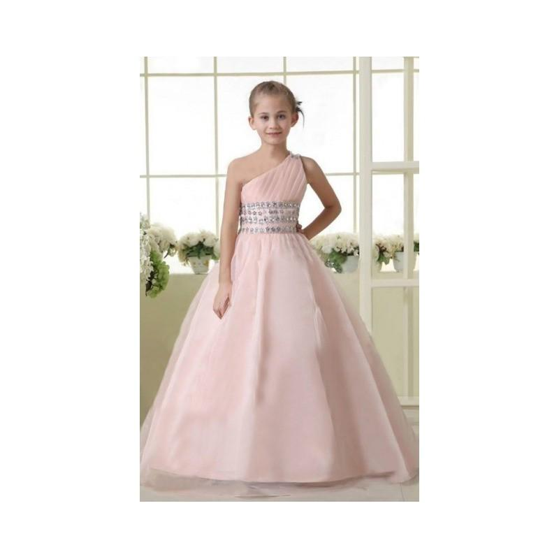 2017 A Line One Shoulder Beaded Lace Up Flower Girl Dress In Canada Prices