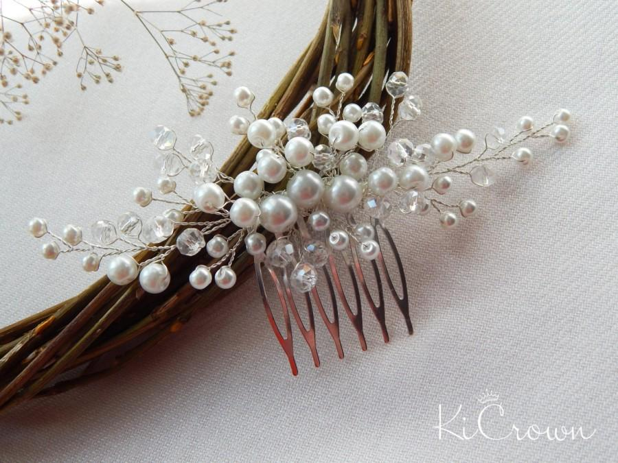 Hochzeit - Bridal hair comb Pearl headpiece Pearls bridal headdress hair comb Crystal bridal hair Bridal hair ornaments Wedding hair comb Hair piece