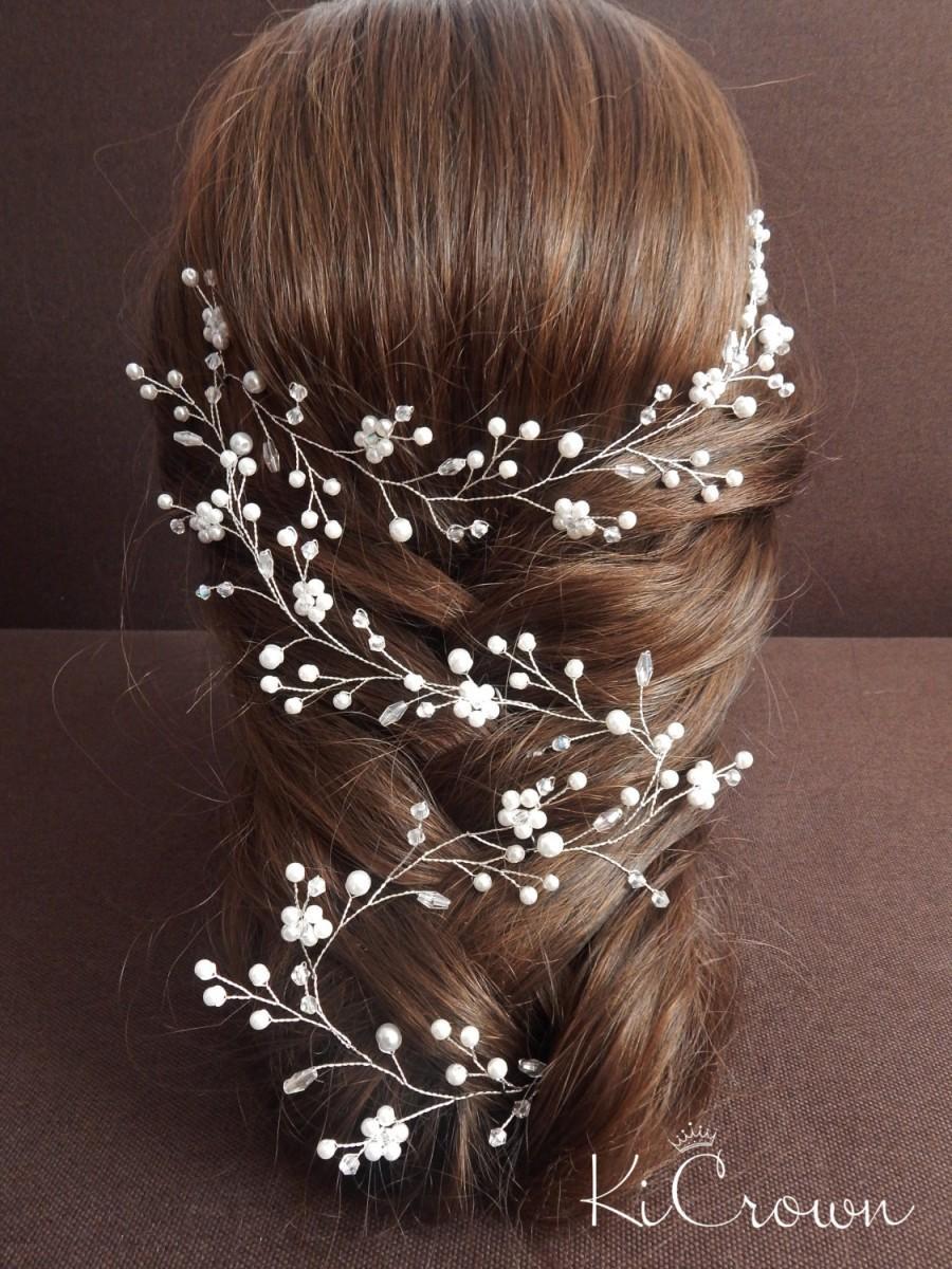 Hochzeit - Long vine bridal hair Bridal hair vine Pearl bridal headpiece Crystal hair vine Pearl Bridal vine Wedding hairstyle