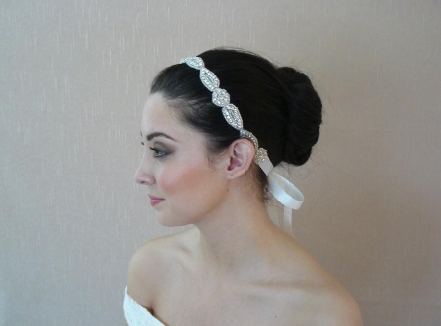 Mariage - Rhinestone Headband Attached to a Double Sided Satin Ribbon in Ivory, White, Black - Ready to ship in 3-5 days