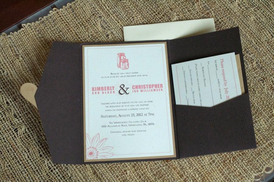 Good Rustic Tree Love Wedding Invitation, Pocketfold, Wedding Stationary, Heart,  Love, Initals Ingraving, Mason Jars, Flower, Type, RSVP