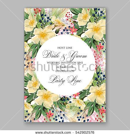 Hochzeit - Anemone Wedding Invitation Floral Bridal Wreath with pink flowers , fir, pine branches, wild Privet Berry, vector floral illustration in vintage watercolor style