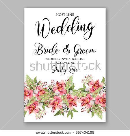 Wedding - Alstroemeria Wedding Invitation tropical floral printable template. Bridal Shower bouquet privet berries, vector flower, illustration in vintage watercolor style