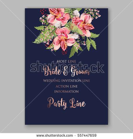 زفاف - Alstroemeria Wedding Invitation tropical floral printable template. Bridal Shower bouquet privet berries, vector flower, illustration in vintage watercolor style