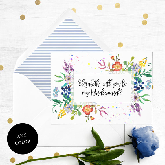 Wedding - Personalized Will you be my Bridesmaid Printable Card-Colorful Flowers Bridesmaid Card-Maid Of Honor, Flower Girl Proposal-Floral Watercolor