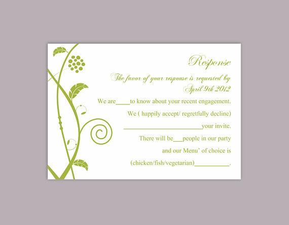 Свадьба - DIY Wedding RSVP Template Editable Word File Instant Download Rsvp Template Printable RSVP Cards Floral Green Rsvp Cards Elegant Rsvp Card