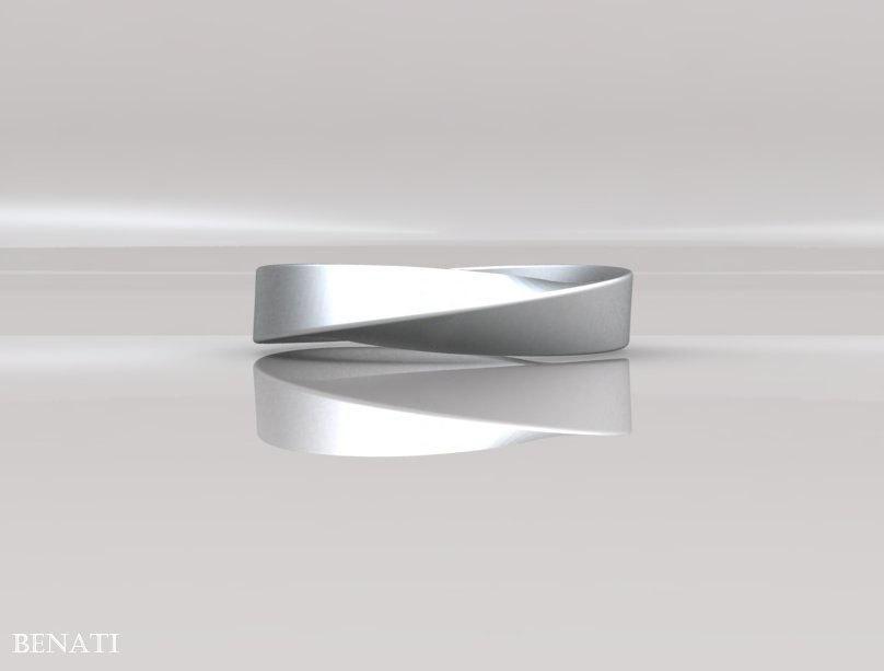 Mobius Wedding Ring 4mm Wide Band Modern Strip Gold Infinity