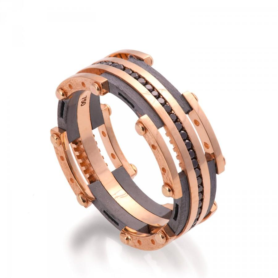 Gold Wedding Band, Men's 18K Rose Gold And Black Diamond Wedding