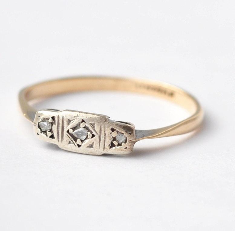 Wedding - Diamond Wedding Rings: Edwardian 9K Gold & Silver, Size 7/7.25