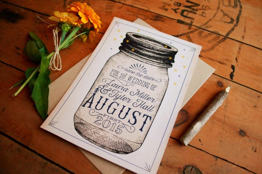 Wedding - Mason Jar Save the Dates - Vintage Rustic Engagement Cards - Printable Woodsy Typographic Telegram Save the Dates