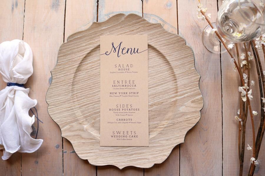 Hochzeit - Kraft Wedding Menus - Rustic Wedding Menu - Simple Menus - Printable Navy Menus - Skinny - Printable Wedding Menu Cards - Kate