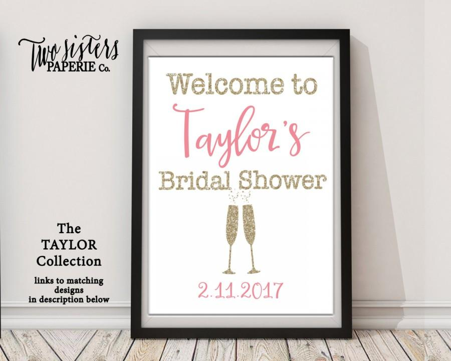 Hochzeit - Brunch & Bubbly Bridal Shower Welcome Sign - Bridal Shower Sign - TAYLOR Collection - Printable File
