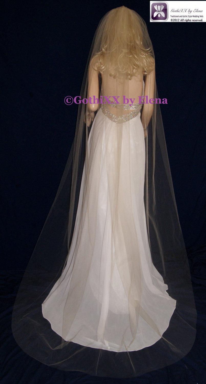 """Свадьба - Wedding Veil Chapel length Black Red Purple Burgundy Silver Pink Beige Blush Navy Lavender 72"""" Width 90"""" Length Cut Edge 27 Colors available"""
