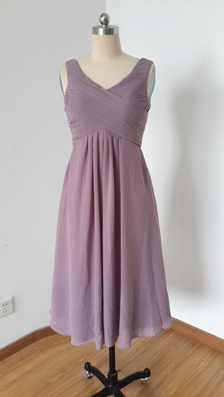 V neck purple grey chiffon short bridesmaid dress 2648895 for Purple and grey wedding dresses