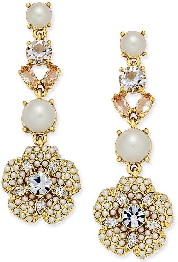 15ffa44e79eea Kate Spade New York Gold-Tone Imitation Pearl And Crystal Flower ...