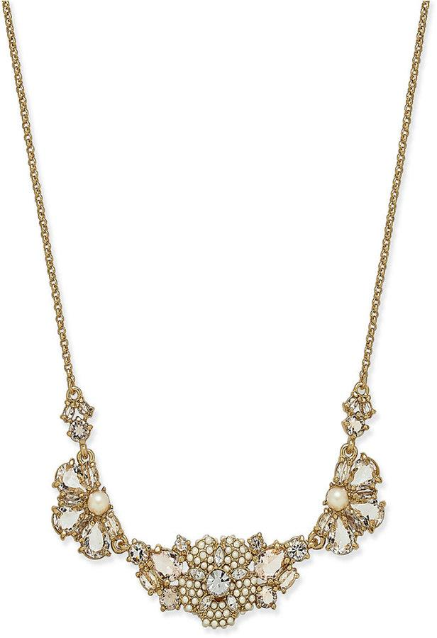 2fb2e3cde7ee1c kate spade new york Gold-Tone Imitation Pearl and Crystal Flower Statement  Necklace