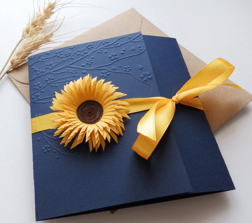 Sunflower Handmade Wedding Invitation Country Rustic Navy Blue Invite Unique Yellow Daisy