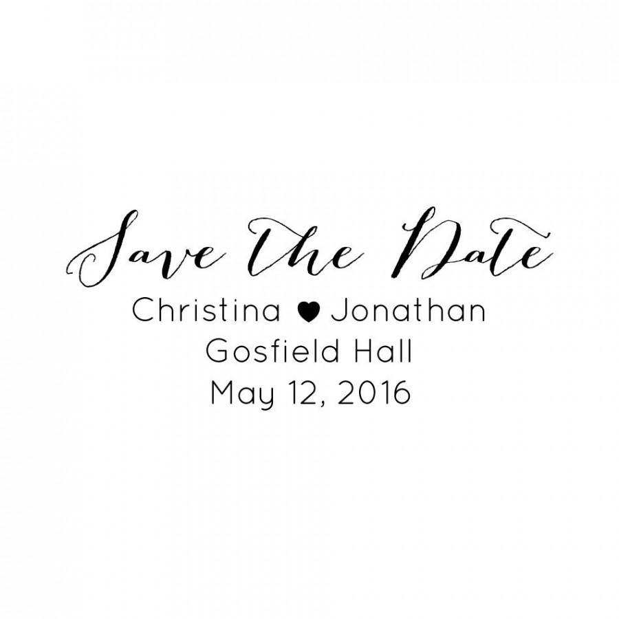 CUSTOM SAVE The DATE Stamp Custom Rubber Stamp Save The Date
