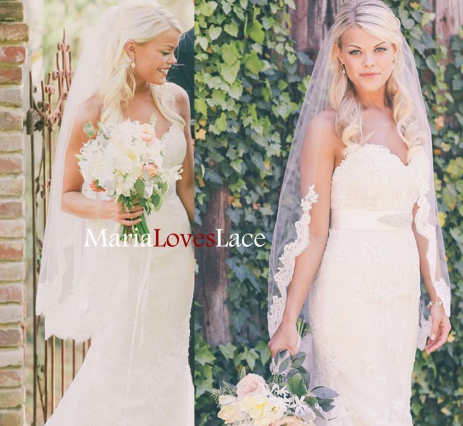 Mariage - Fingertip partial lace veil-1 tier lace fingertip wedding veil-Lace half way veil in fingertip-Short Alencon Lace Bridal veil 625