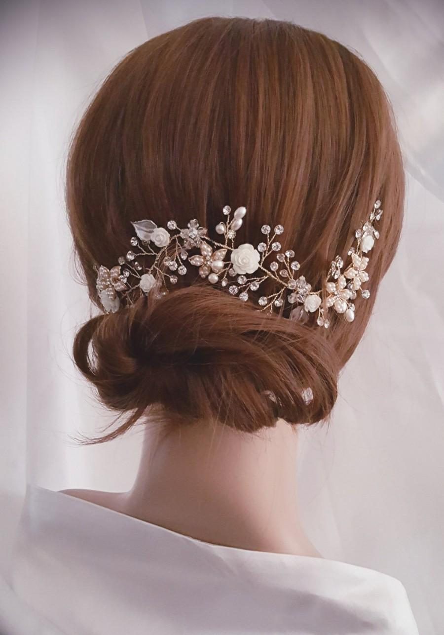 Свадьба - Wedding Hair Vine, Gold Bridal Head Piece, Silver Bridal Hair Accessory, Flower Hair Vine, Pearl Hair Vine
