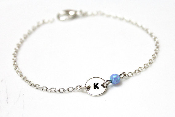 Hochzeit - Opal Initial Bracelet, Sterling Silver Initial Bracelet, Initial Charm, Blue Opal Charm Bracelet, Sterling Silver Bracelet, Charm Bracelet