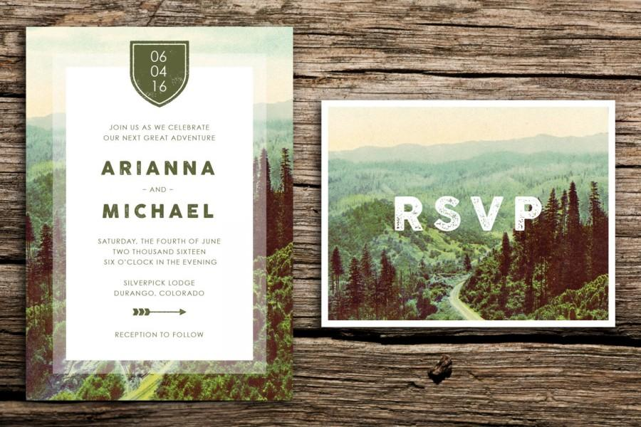 زفاف - Mountain Road Wedding Invitation & Vintage RSVP // Seattle Wedding Oregon Wedding Washington Wedding Mountain Wedding Crest