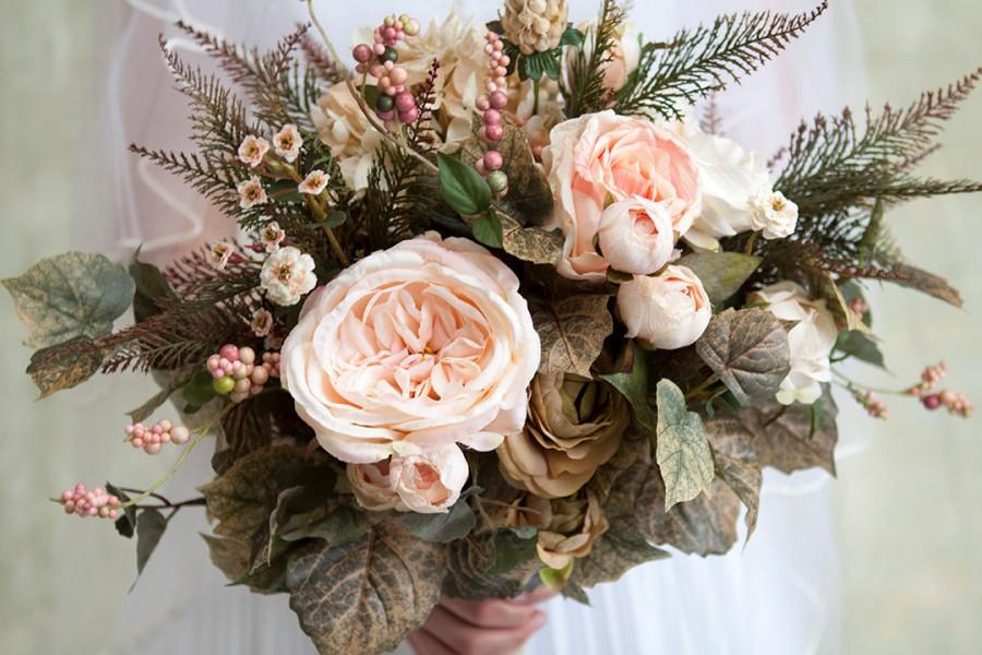 Blush Pink Cream Green Wedding Bouquet Spring Rustic Flowers Roses Hydrangea Floral