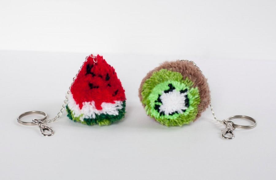 Pom pom bag charm kiwi watermelon Pom pom keychain purse charm keychain  Handbag charm keyring Pompom key chain fruit 6b4c20e01