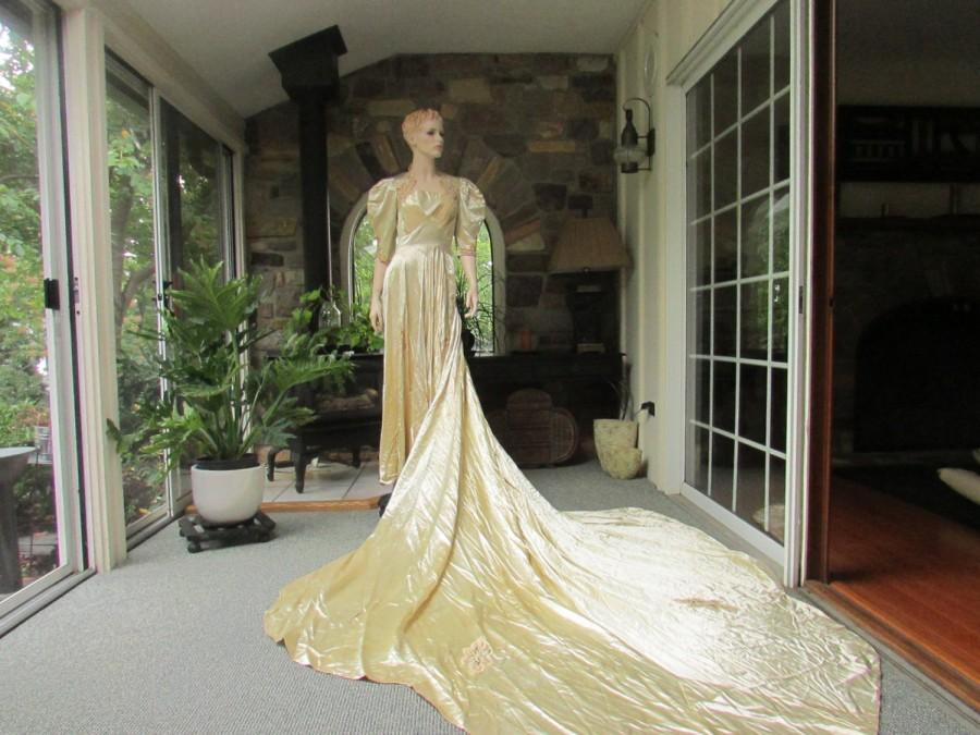 Classic Wedding Dress Satin: Antique Ivory Satin Silk Wedding Gown, Antique Wedding