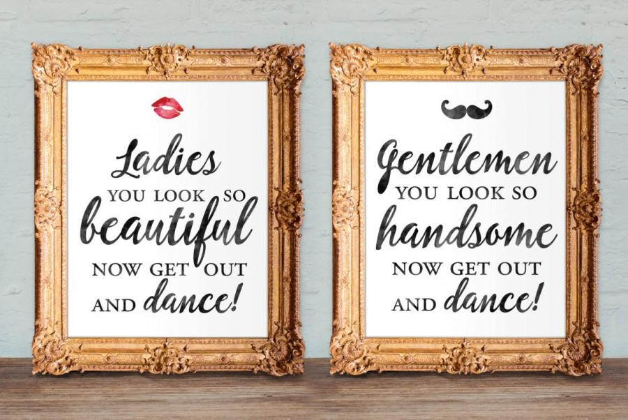 Wedding Bathroom Signs   Womens And Mens Restroom   His And Hers Bathroom  Signs   Printable 8x10 And 5x7 (set Of Two)