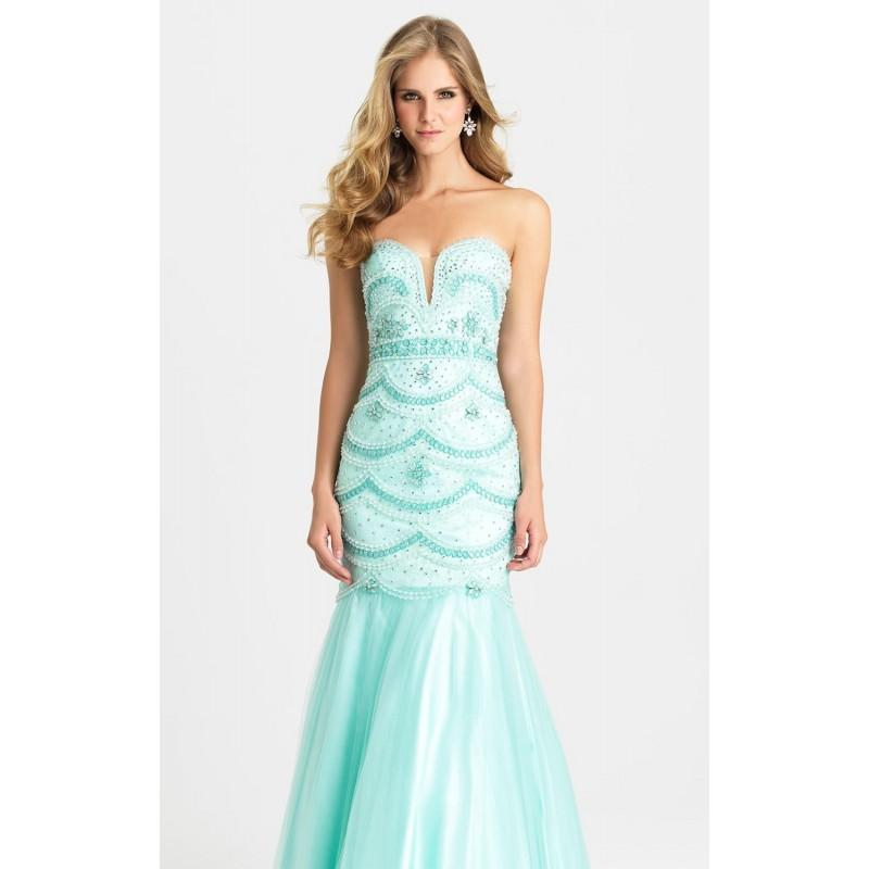 Hochzeit - Aqua Strapless Beaded Gown by Madison James Special Occasion - Color Your Classy Wardrobe