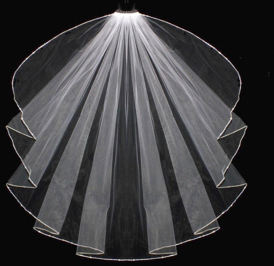 Mariage - Rhinestone Cascade Cut Elbow, Fingertip and Cathedral Wedding Veil