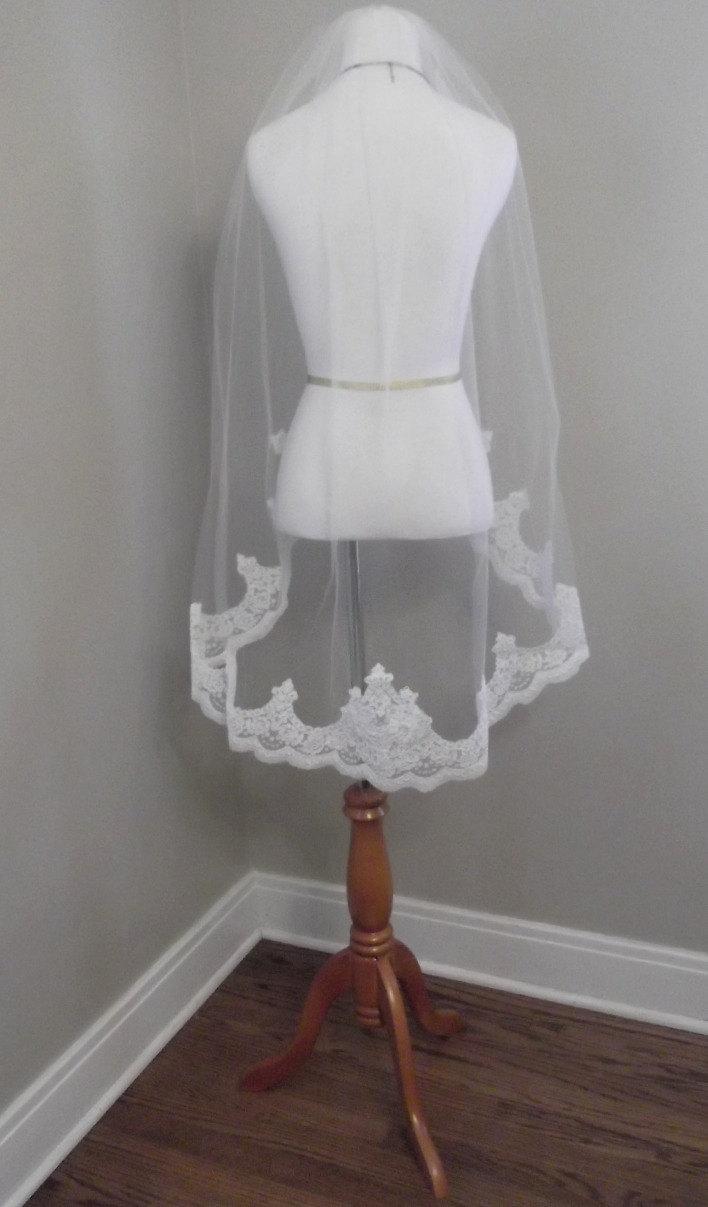 Mariage - Regal Alencon Lace Edge Fingertip Wedding Veil