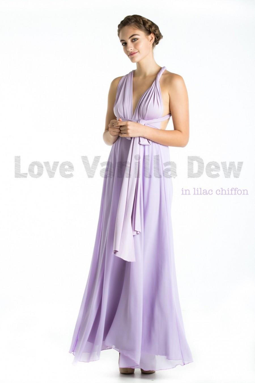 Lilac Chiffon Wedding Dress