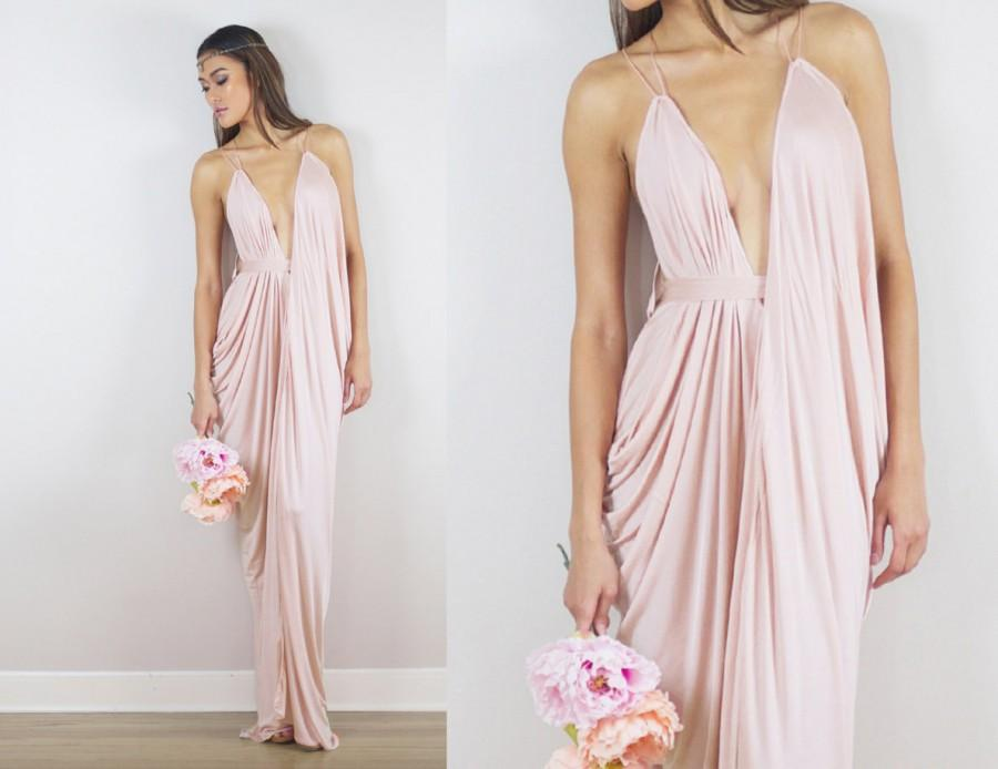 Blush Bridesmaids Dress Blush Prom Dress Blush Draped