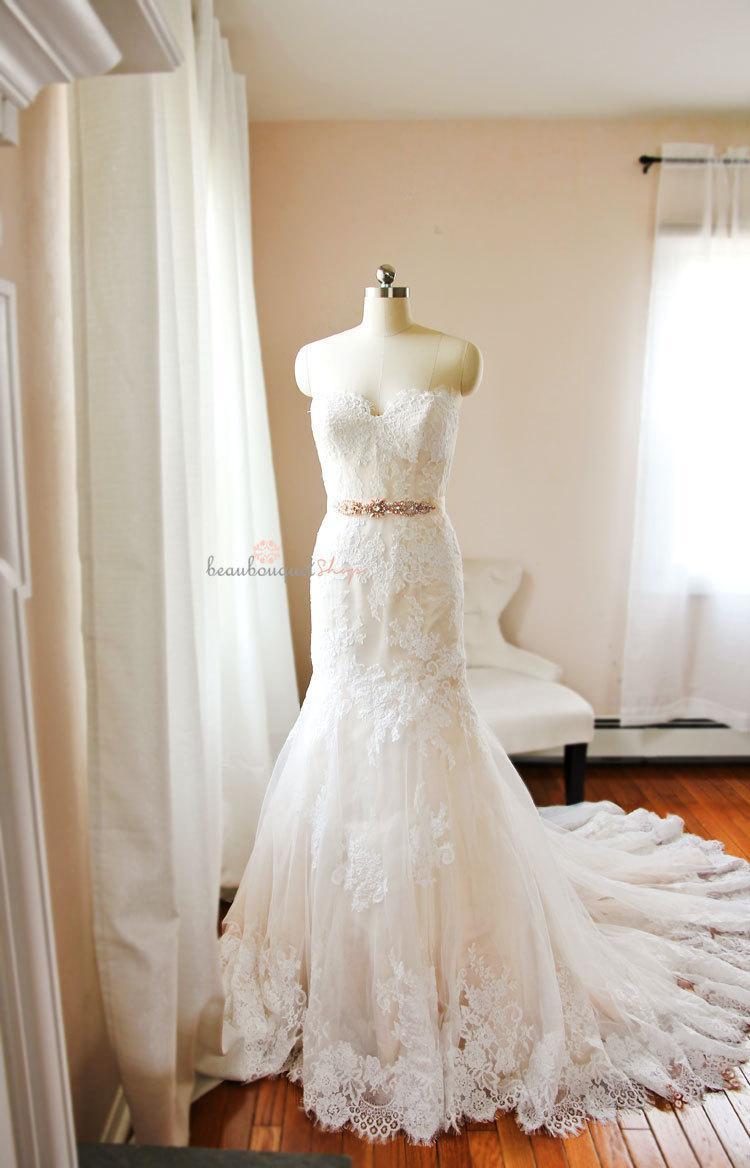Wedding - Lace Wedding Dress, Bridal Gowns and Separates, Bridal Gown, French Lace Bridal Dress, Strapless Dress, Sweetheart Neckline, SARRAH Dress