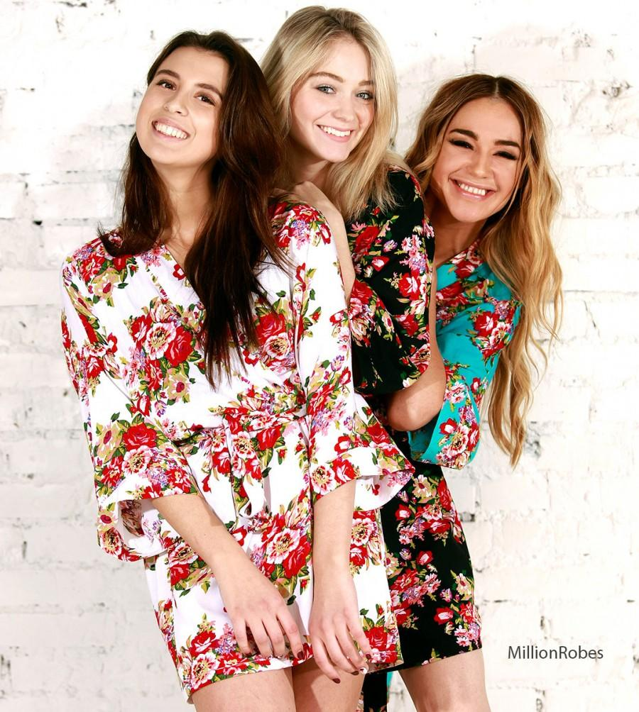 SALE! Set Of 8 Bridesmaid Robes, Floral Cotton Robe, Bridal Party ...