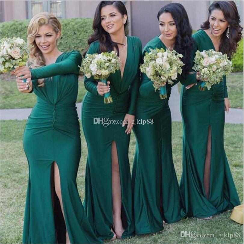 2017 New Green Bridesmaid Dresses Long Sleeve V Neck Split Front