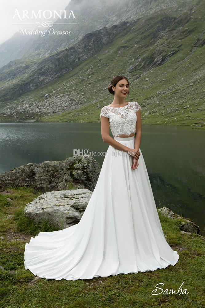 Свадьба - Two Pieces Scoop Neck Cap Sleeve A-Line Wedding Dresses Chiffon Lace Vintage Outdoor Beach Wedding Dress Bridal Gowns Lace Luxury Illusion Online with $150.86/Piece on Hjklp88's Store