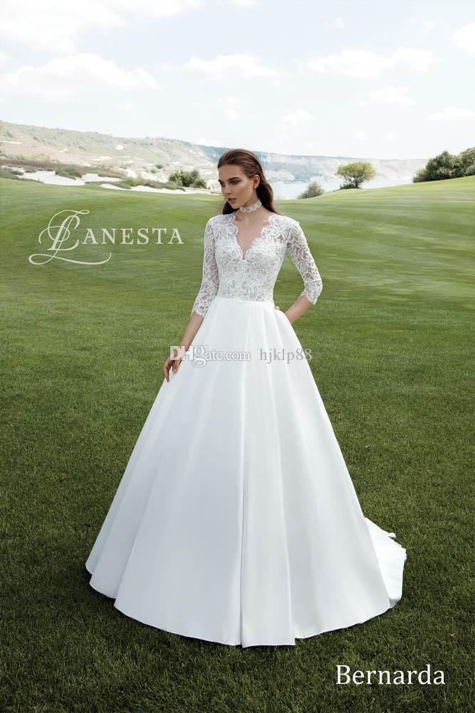 Mariage - Deep V-Neck 3/4 Long Sleeve A-Line Wedding Dresses Satin Appliques Lace Pearls Vintage Outdoor Beach Wedding Dress Bridal Gowns Lace Luxury Illusion Online with $154.29/Piece on Hjklp88's Store