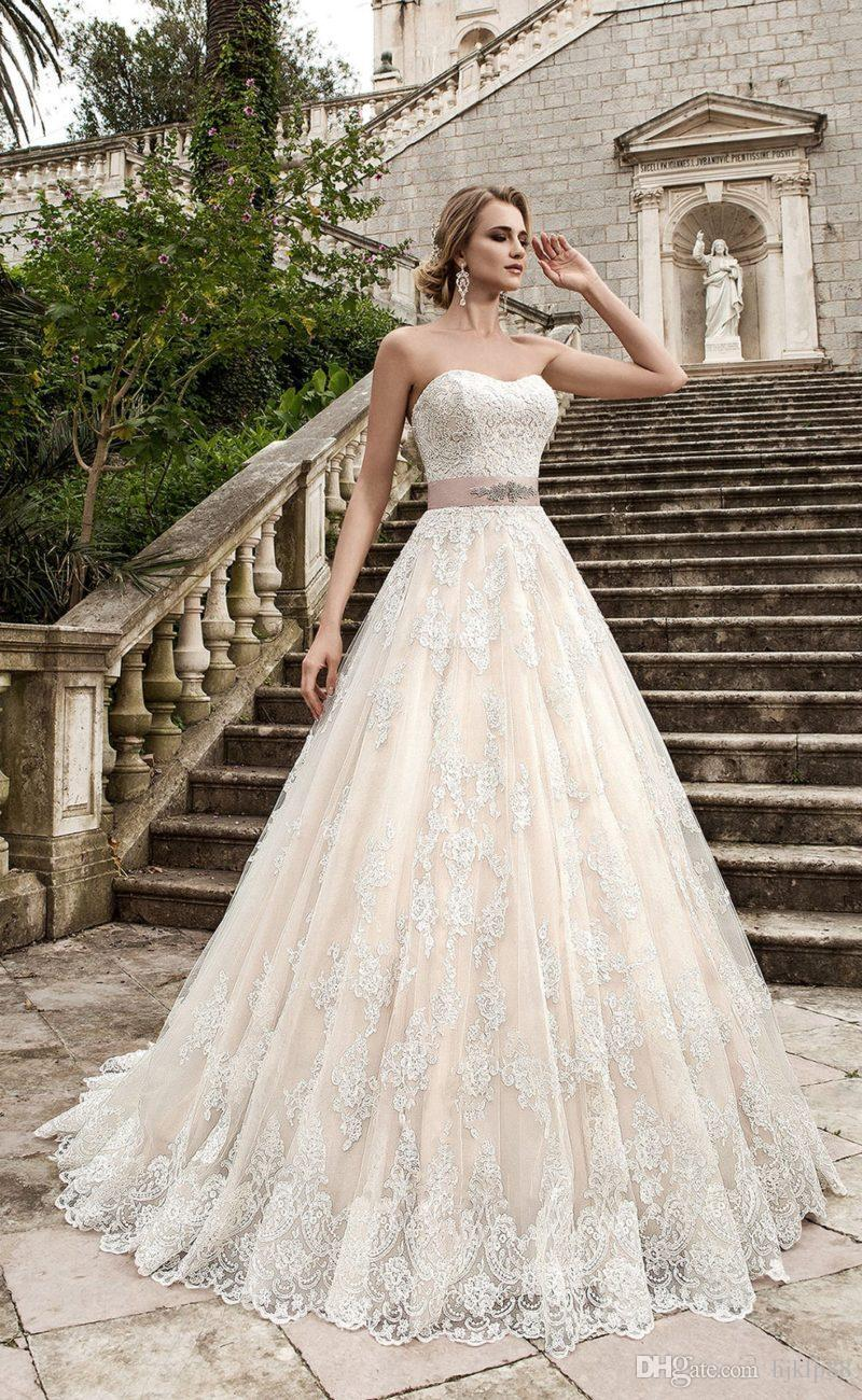 Свадьба - Strapless A-Line Lace Wedding Dresses Tulle Applique Lace Vintage Beaded Sash Wedding Dress Bridal Gowns Lace-up Lace Luxury Illusion Online with $160.0/Piece on Hjklp88's Store