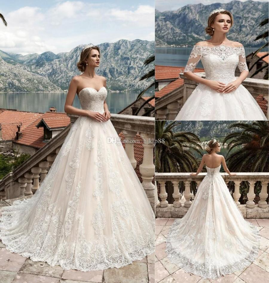 Свадьба - Two Pieces Detachable Bodice A-Line Lace Wedding Dresses Tulle Applique Lace Vintage Sweetheart Wedding Dress Bridal Gowns Lace-up Lace Luxury Illusion Online with $165.72/Piece on Hjklp88's Store